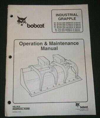 Bobcat 60 66 68 72 78 Bucket Grapple Operation Maintenance Manual Book
