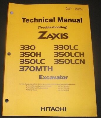 HITACHI ZAXIS 330 350H LC LCH LCN 370MTH EXCAVATOR TECHNICAL TROUBLESHOOT MANUAL for sale  Shipping to India