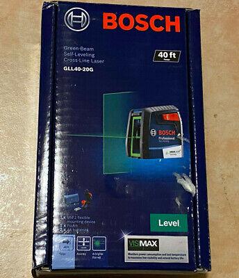 New Bosch 40 Self Leveling Cross Line Laser W Visimax Green Beam Gll40-20g