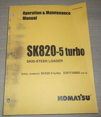 Komatsu Sk820-5 Skid Steer Loader Operation Maintenance Manual Sn 37btf0003-up