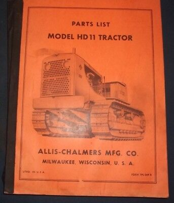 Allis Chalmers Hd-11 Crawler Tractor Dozer Bulldozer Parts Manual Book Catalog