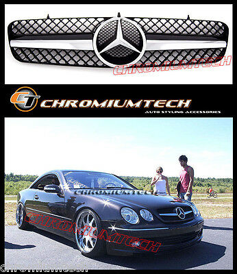 Schwarz/Chrom Grill für 1999-2006 Mercedes CL Klasse W215 CL65 CL500 CL600