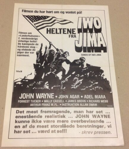 """Sands of Iwo Jima"" John Wayne Agar Mara Vtg 1949 Danish Movie Press Release Kit"