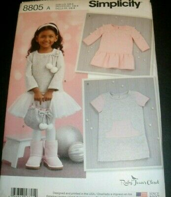 Simplicity Pattern 8805 Ruby Jean's Closet Toddler Girls Dress & Purse 1/2 -4 UC Denim Purse Patterns