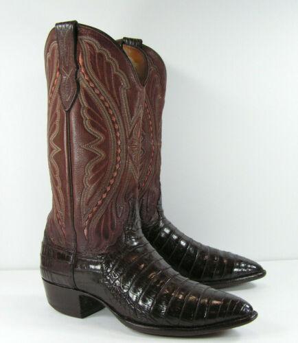 larry, mahan, genuine, crocodile, skin, cowboy, boots, mens, 8, D, brown, usa, western,