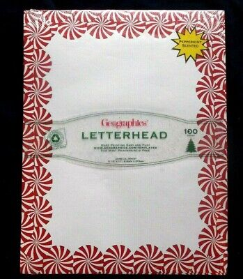 Geographics 100 Sheets Letterhead Paper PEPPERMIT SCENTED  Christmas ()