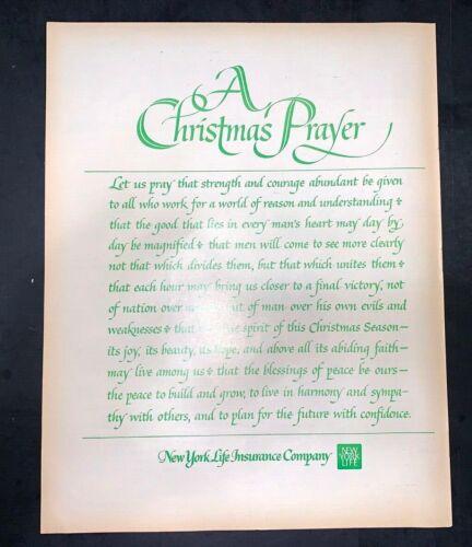 Life Magazine Ad NEW YORK LIFE INSURANCE COMPANY A CHRISTMAS PRAYER 1971 Ad