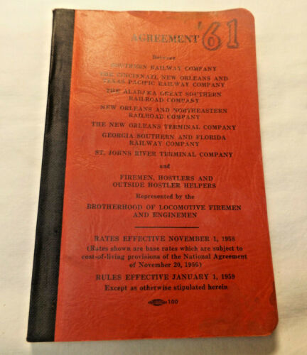 1959 61 AGREEMENT SOUTHERN RAILWAY Co + other Railroads BLFE RR Union Contract