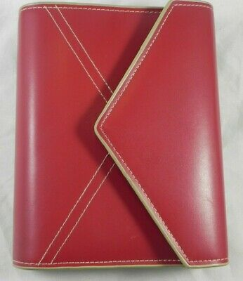 Franklin Covey Red Tan Trim Stitch Sim. Leather Envelope-style Compact Binder
