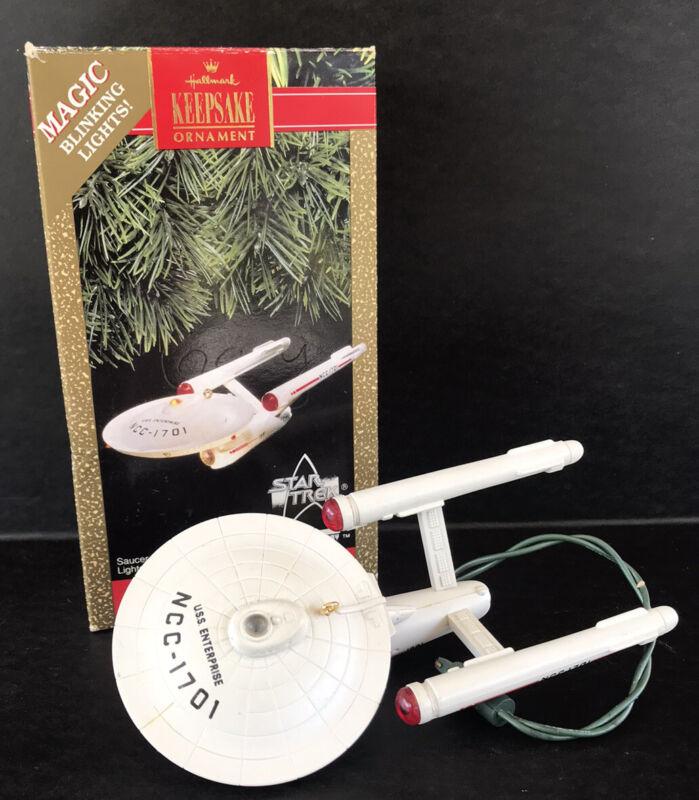 Vintage Hallmark Keepsake Ornament Star Trek Enterprise 1991 Lights Works