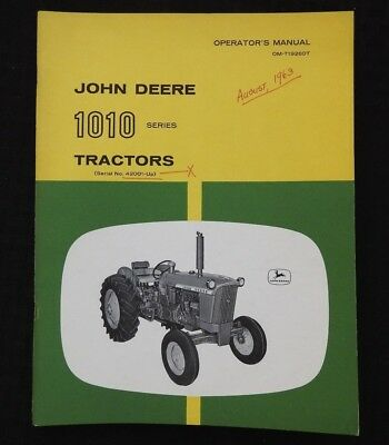 1963-64 John Deere 1010 Row-crop Utility Orchard Tractor Operators Manual Sohio