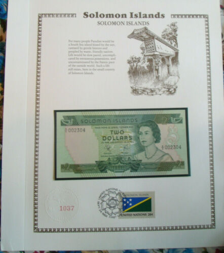 Solomon Islands Banknote 1977 $2  UNC P 5 UN FDI FLAG STAMP A/2 Low 002304