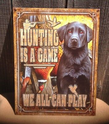 Hunting Is Game We Can Play Sign Tin Vintage Garage Bar Decor Old Rustic