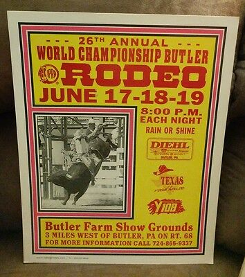 OLD BUTLER PA 26TH ANNUAL WORLD CHAMPIONSHIP​ RODEO CARDBOARD ADVERTISING SIGN