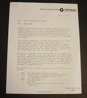 Rare 1970 Plymouth AAR 'Cuda Dealer Announcement Letter Price Bulletin Barracuda