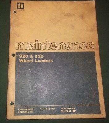 Cat Caterpillar 920 930 Wheel Loader Maintenance Manual Book 41k 62k 71h 73u 75j