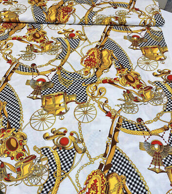 0,55m authetic Versace thiny cotton jersey white fabric with baroque chain print