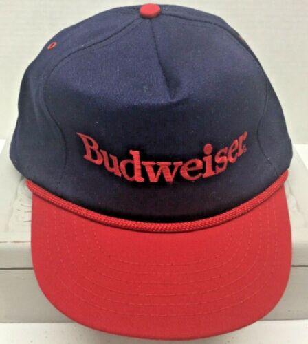 NWOT Budweiser Snap Back Beer Hat Cap Trucker Vintage Made USA Braided Trim