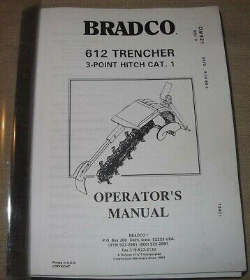 Bradco 612 Trencher Operator Operation Maintenance Manual Book