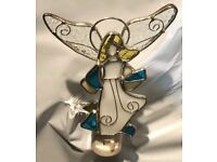 9009-36 Stained Glass Gold//Pink//White Night Light New