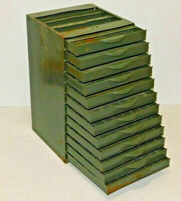Vtg Metal Industrial Parts Cabinet Hardware Craft Equipto Usa Green 12 Drawers