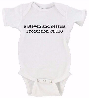 Custom Production Baby Announcement Onesie Custom Name and D