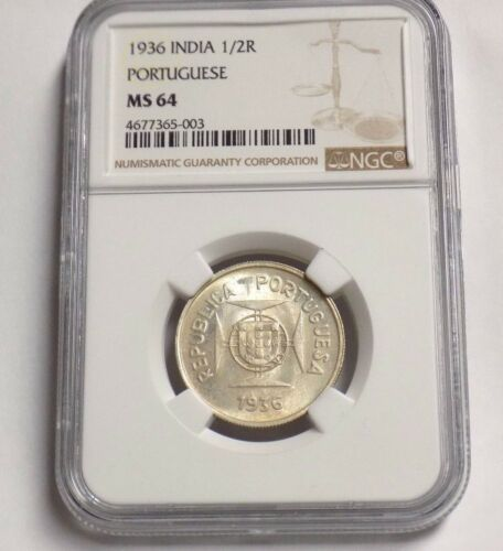 INDIA PORTUGESE 1936 1/2 R HALF RUPIA NGC MS64 MS 64 Certified Portugal Coin