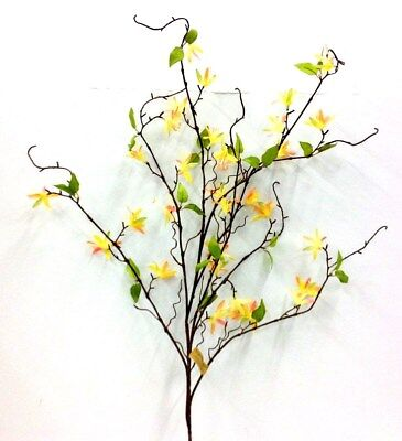 Silk Flower Accents - Flowering Blossom Branch~Yellow,Peach/Melon Accent, Green~50