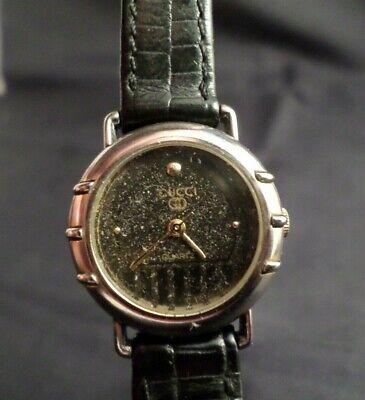 VTG Authentic Gucci Vintage Wrist Watch Ladies Women Quartz Black Silver Classic