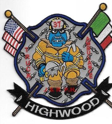 "Highwood  Truck - 37 / Ambulance - 37, Illinois (4.5"" x 4.75"") fire patch"