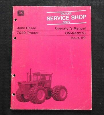 Original 1970 1971 John Deere 7020 Tractor Operators Manual Very Good Shape