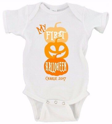 CUSTOM My First Halloween Pumpkin Custom Date Happy Halloween Baby's First - Babys First Halloween