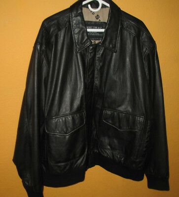 1958 US ARMY AIR FORCE Type A-2 Black Leather Map Bomber Flight Jacket 3XL Big for sale  Antioch