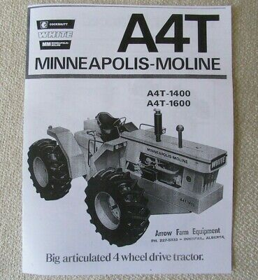 White Cockshutt Minneapolis Moline A4t-1400 Tractor Brochure Re-print
