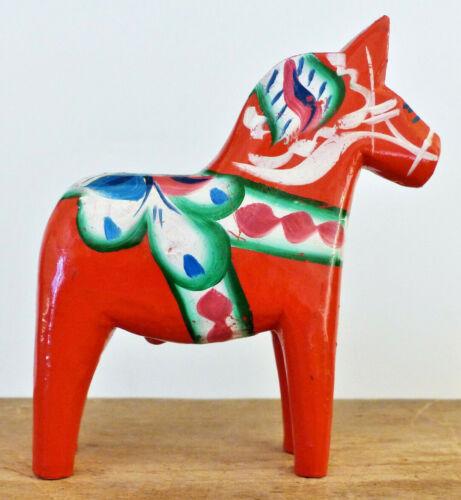 Vintage SWEDEN Wood DALA HORSE G.A. Olsson NUSNAS Label CARVING Folk Art #1