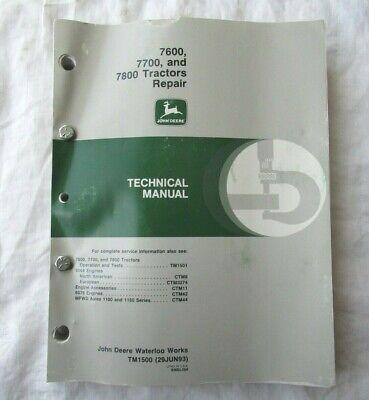 1993 John Deere 7600 7700 7800 Tractor Repair Technical Manual Tm1500 Oem