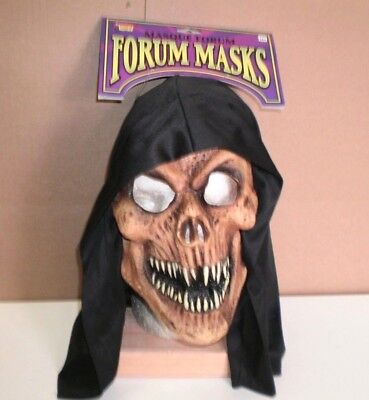 Brand New Men's Adult Hooded Grinning  Reaper  Halloween  Forum Vinyl Mask - Masks For Men Halloween