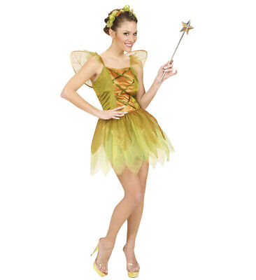 vergoldete Waldfee Fee gold Kleid Flügel Kopfbedeckung Kostüm Karneval Größe S