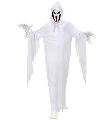 GEIST Kostüm, Kinder weiß mit Maskenkapuze + Gürtel 128 Halloween ()