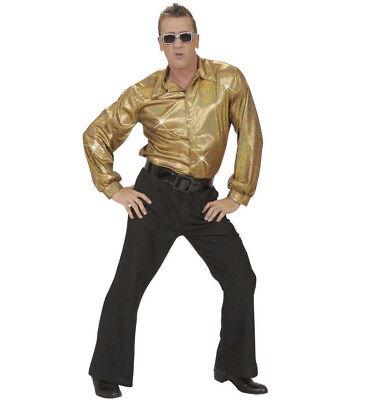 Herren Gold Hemd 70s Jahre 80s Disko Kostüm 1970s 1980s Party Outfit Ml - 1970's Party Kostüm
