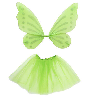 Waldfee Fee Elfe Dress-up Set Tütü Flügel Kostüm Verkleidung Karneval  - Grüne Dress Up Kostüm