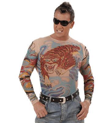 Tattoo-Shirt Tiger Dragon Fasching Longsleeve Rocker Gothic Biker Punk - Gothic Rocker Kostüm