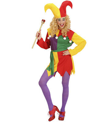Ladies Court Jester Fancy Dress Costume Circus Halloween Outfit Uk 14/16 Womens ()