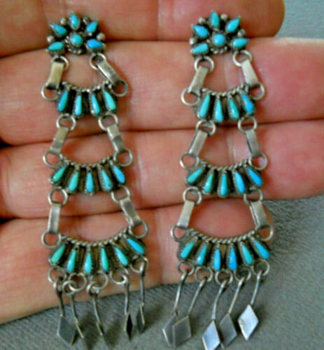 """Old Native American Turquoise Petit Point Sterling Silver Chandelier Earrings 3"""""""
