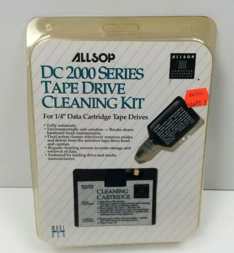 Vintage 1992 Allsop DC 2000 Series Computer Tape Drive Cleaning Kit NEW Sealed