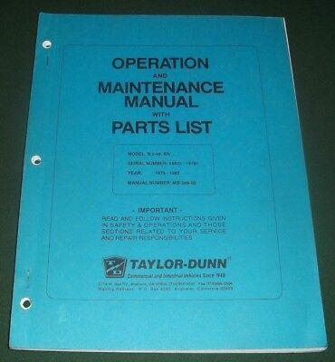 Taylor Dunn B 2-48 Bn Forklift Part Operator Operation Maintenance Manual Book
