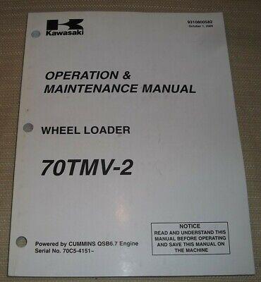 Kawasaki 70tmv-2 Wheel Loader Operation Maintenance Book Manual 70c54151-up
