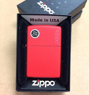 Zippo Logo Red Matte Windproof Lighter 233ZL New