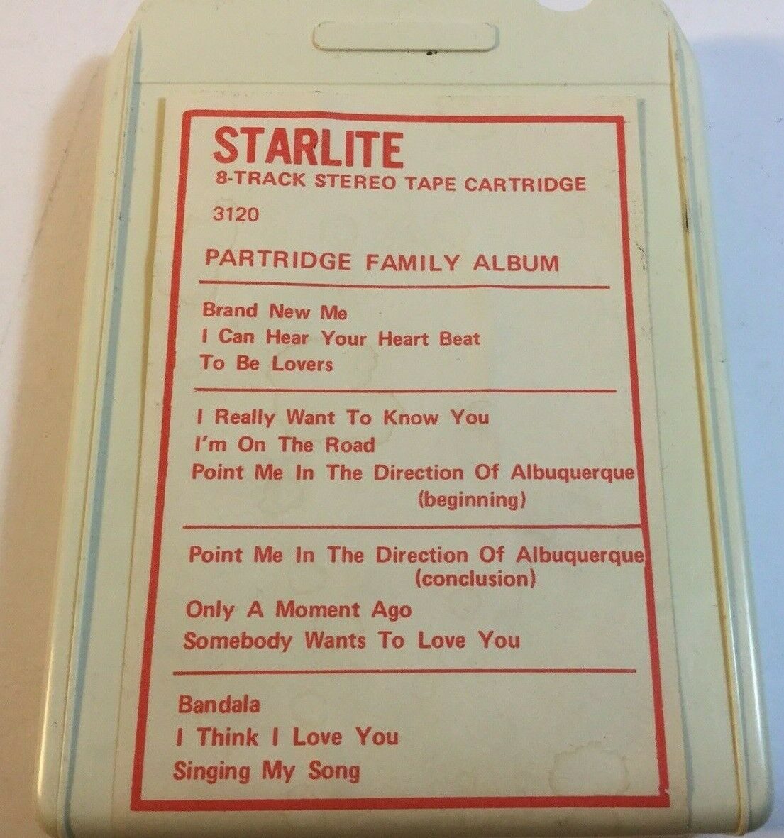 Partridge Family Album 8 Track Starlite 3126 TESTED - $8.48