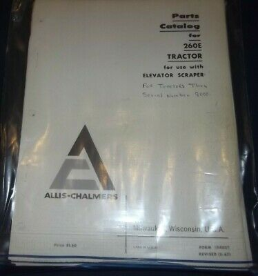 Allis Chalmers 260e Tractor Elevating Scraper Parts Manual Book
